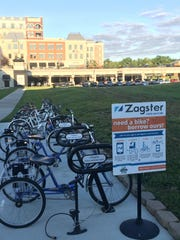 One of Carmel's seven Zagster bike-sharing rental stations is alongside the Monon Greenway, between The Palladium and Carmel City Center.