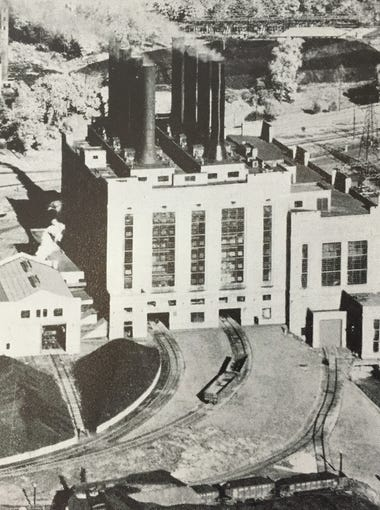 A historic photo of the Mighty Marysville power plant. The photo was printed in a Detroit Edison Company yearbook documenting the company's progress from 1903 through 1933.
