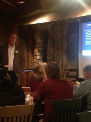 Norman Bobo explains possible alternatives to constitutional amendments during a Convention of States Tennessee meeting at the Old Country Store on Friday.