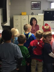 Southeast Elementary School Secretary Karen Socia is the Howell Public Schools Support Person of the Year. Kindergartners and first graders sang to Socia prior to this announcement.