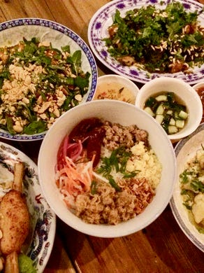 Hai Hai dishes include Hanoi Sticky Rice (with ground pork, Chinese sausage and pickled onion), Balinese Cauliflower, Sugarcane Shrimp, Water Fern Cakes and many others.