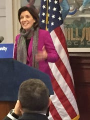 Lt. Gov. Kathy Hochul in January announces a state