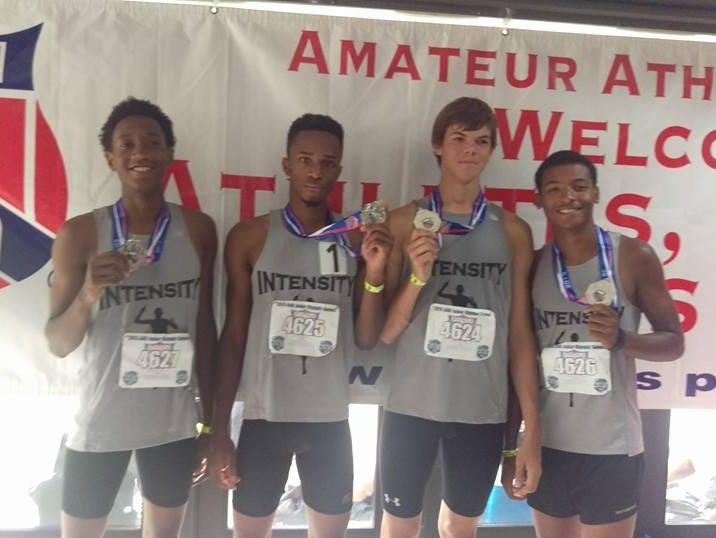 Intensity Track Club's 3,200-meter relay team of (from left) Zach Gray, Montel Hood, Andrew Chant and Will Jackson narrowly missed winning a national championship at the AAU Junior Olympics.