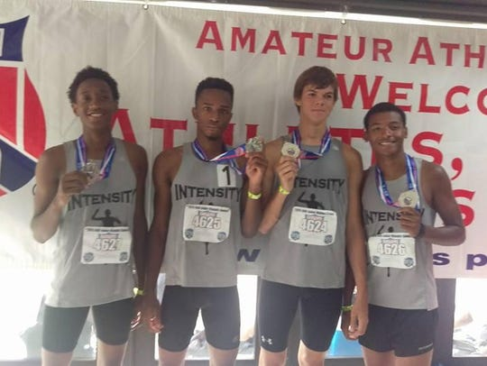 Intensity Track Club's 3,200-meter relay team of (from