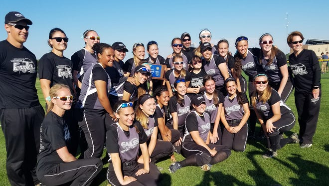 The Egg Harbor Township High School softball team poses with its trophy after a 13-8 win over Rancocas Valley in the South Jersey Group 4 championship on Wednesday.