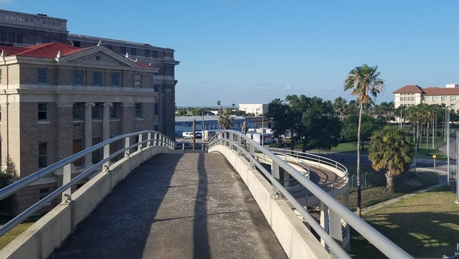 The pedestrian ramp over Interstate 37 to the old Nueces County Courthouse offers picturesque views and opportunity.