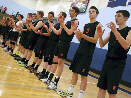 Northeastern is introduced before taking on Holy Redeemer in a PIAA Class AA boys' volleyball semifinal Tuesday at Exeter Township High School.