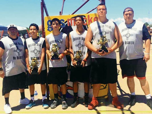 Courtesy Photo   No Regrets/Southern Select Gus Macker champs, from left, Ernesto Villegas, coach, Chico Vigil, Jimmy Rico, Jordan Euland, Damian Guck and James Guck, coach.