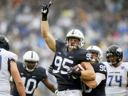 Penn State Nittany Lions defensive end Carl Nassib celebrates after breaking up a pass during the first half of Saturday's game against Buffalo.