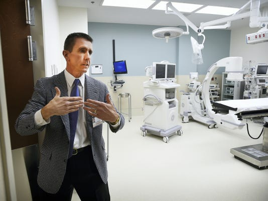 Physician John Rogers shows off the operating room in Lebanon's newest medical facility, the North Cornwall Health Center at 1710 Cornwall Road. The 24-million structure houses  Orthopedic Associates of Lancaster, North Pointe Surgery Center and Lancaster Health/Quentin Family Practice.