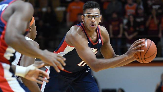 Ole Miss forward Sebastian Saiz grabbed 21 points and grabbed nine rebounds in the Rebels' loss to Va. Tech on Sunday.