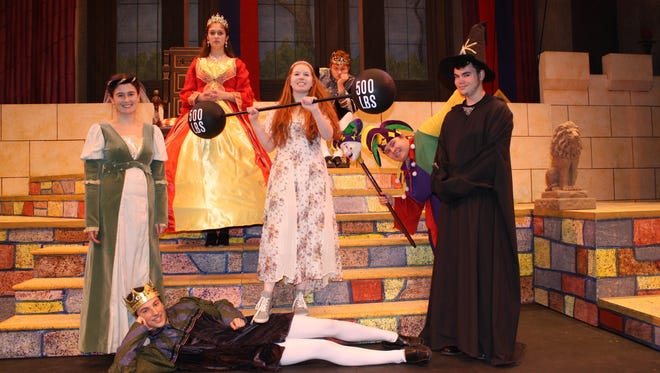 "Starring in the Binghamton High School production of ""Once Upon A Mattress"" are, left to right, Olivia Capozzi (Lady Larken), Vincent Putrino (Prince Dauntless), Camille Swan (Queen Aggravain), Meredith Starks (Princess Winnifred), Nicholas Pogson (King Sextimus the Silent), Stephen Shea (Jester) and Jacob Weinheimer (Wizard)."