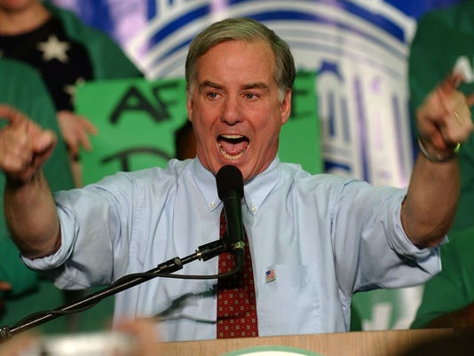Howard Dean addresses leaders of the American Federation of State, County and Municipal Employees, Saturday, Nov. 22, 2003, in Des Moines, Iowa.