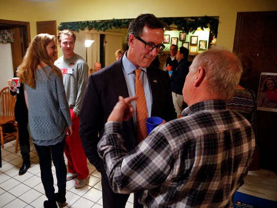 Republican presidential candidate Rick Santorum speaks at a house party in Urbandale Thursday, Jan. 7, 2016.