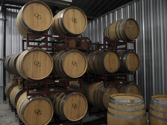 Wine is fermented in casks Friday, March 24, 2017,