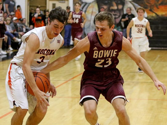 Nocona's Jeremy James attempts to steal the ball from