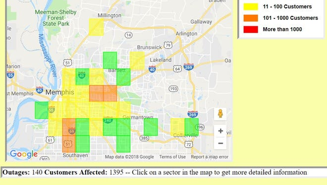 A view of Memphis Light, Gas and Water Division's online outage map, as seen shortly after 5 p.m. on July 16, 2018.