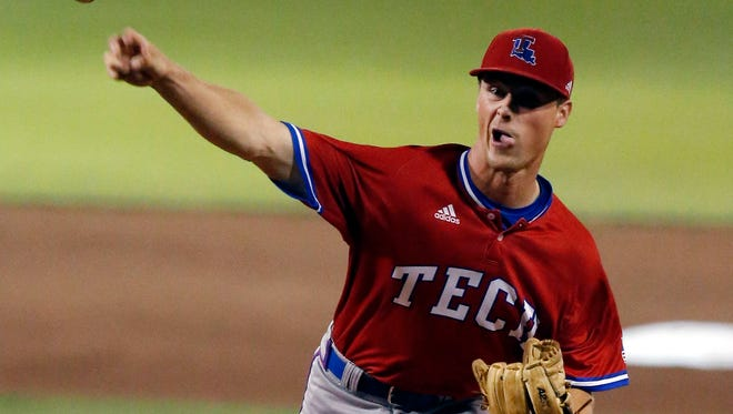 Louisiana Tech pitcher Braden Bristo (5) pitches against Mississippi State during their NCAA Regional Baseball Tournament championship game at Dudy Noble Field in Starkville, Miss., Sunday, June 5, 2016. (AP Photo/Rogelio V. Solis)