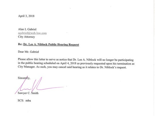 Former Marco Island City Manager Lee Niblock has withdrawn his request for a hearing to challenge his termination.