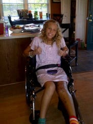 McKenna Pfeiffer recovering from her knee injury.