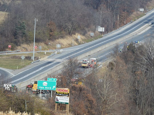 An overturned tractor trailer spilled liquid nitrogen and shut down I-83 in both lanes at the Glen Rock exit, according to York County 911.