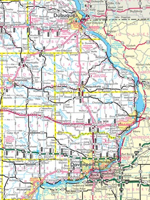 Section of an Iowa transportation map.