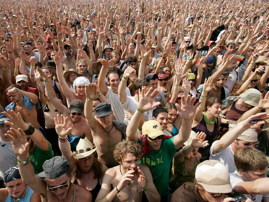 The crowd at the Bonnaroo Music & Arts Festival in
