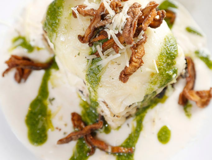 The chicken and forest mushroom lasagna features ricotta,