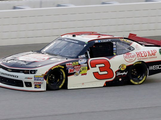 Ty Dillon drives during the NASCAR Nationwide series auto race at Chicagoland Speedway in Joliet, Ill., Saturday, July 19, 2014. (AP Photo/Nam Y. Huh)