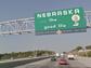The marker at the Nebraska border boasts the states