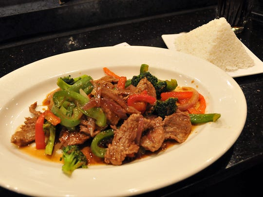 """Satay beef with mixed vegetables and steamed rice is just one of many options at """"Ginza,"""" the former """"Pattaya"""" restaurant in the Ace Hardware plaza on E. Perry St. in Port Clinton."""