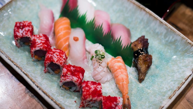 A Sushi Deluxe dish featuring madai (Japanese red snapper, a Fuji roll with tuna, unagi (barbecue eel) and engawa (flounder fin) from Fuji in Haddonfield.