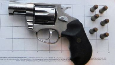 This loaded handgun was found in a carry-on bag at Greater Rochester International Airport on Saturday.