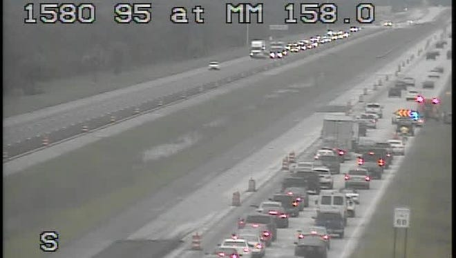 This screenshot provided by Florida511.com shows traffic backed up at mile marker 158 on southbound Interstate 95 in Indian River County about 6 p.m. Sunday, June 18, 2017. Scenes like this were routine in early stages of widening I-95 in Indian River County.