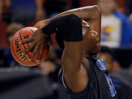 Seton Hall center Angel Delgado (31) practices for an NCAA college basketball first round game Wednesday, March 14, 2018, in Wichita, Kan. (AP Photo/Charlie Riedel)