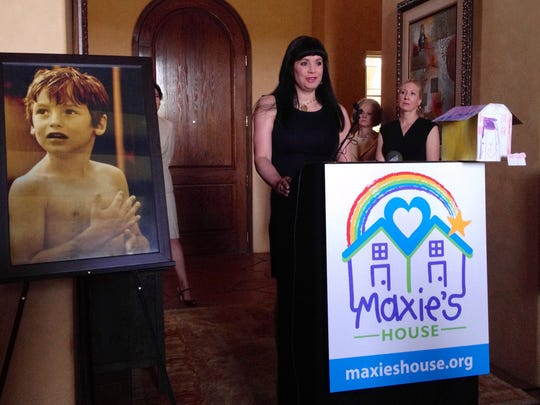 Dina Shacknai, mother of 6-year-old Maxfield Shaknai, who died after he fell down a flight of stairs at his father's southern California mansion, dedicates a foundation in his honor in 2012.