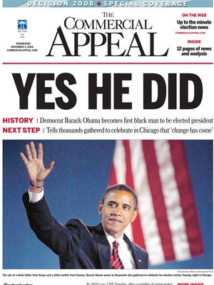 The November 5, 2008 edition of The Commercial Appeal when Barack Obama defeated John McCain.