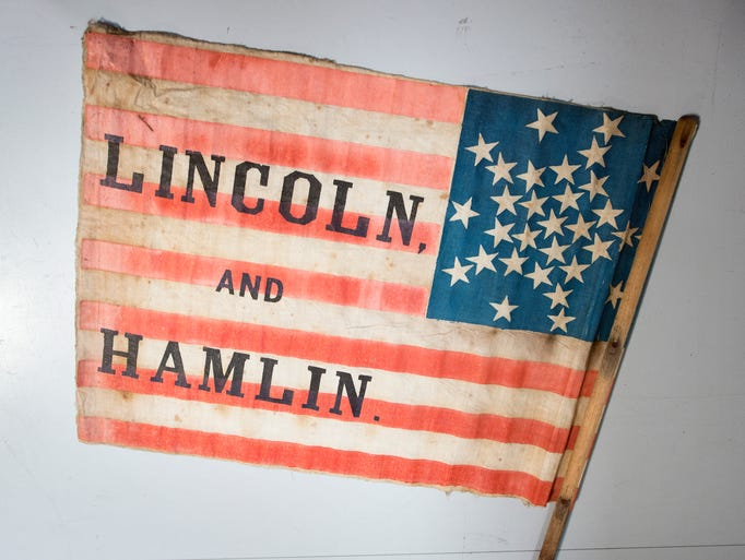 Abraham Lincoln campaign flag from 1860.