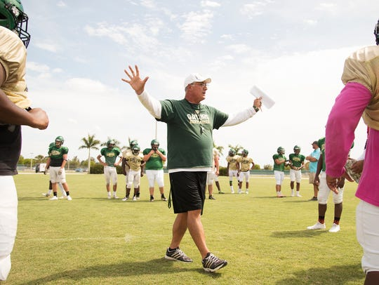 Island Coast High School football coach Jim Wiseman
