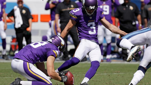 Minnesota Vikings kicker Blair Walsh (3) kicks a 50-yard field goal against the Tennessee Titans in the second half of an NFL football game Sunday, Sept. 11, 2016, in Nashville, Tenn. Holding is Jeff Locke. (AP Photo/James Kenney)