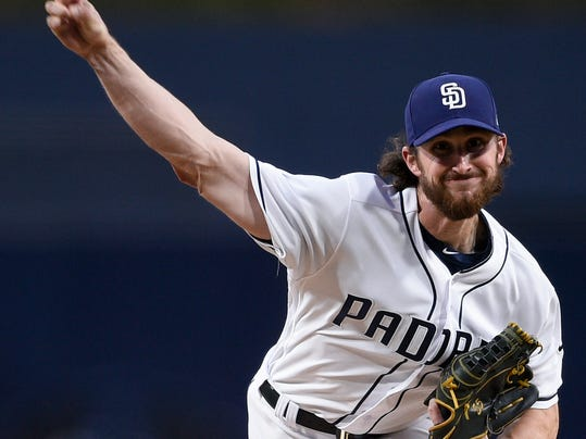 San Diego Padres starting pitcher Bryan Mitchell throws during the first inning of the team's baseball game against the San Francisco Giants in San Diego, Thursday, April 12, 2018. (AP Photo/Kelvin Kuo)
