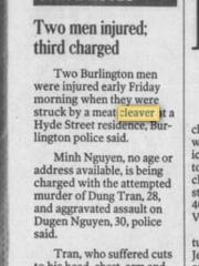 Newspaper clipping from Nov. 27, 1999 of a crime at