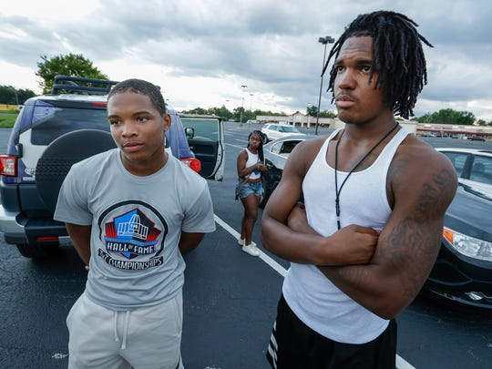 Lael Warren and Montrez Stanley, right, at the vigil for Trevon Bonds on Wednesday, June 27, 2018.