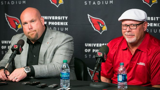 Arizona Cardinals GM Steve Keim and head coach Bruce Arians discuss draft picks at their training facility in Tempe on April 22, 2015.