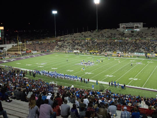 Final quarter of the Las Cruces-Mayfield football game on Friday, November 3, 2017. Attendance was 9,953.