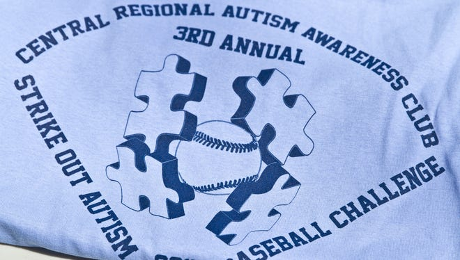 A T-shirt from last year's  Strike Out Autism  Challenge, which will be held for the fourth straight season on Saturday at sites around the Jersey Shore.