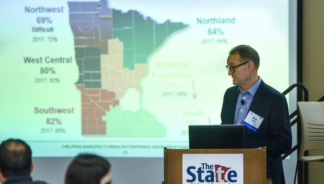Enterprise Minnesota president and CEO Bob Kill delivers a presentation during the 2018 State of Manufacturing survey release event Tuesday, June 12, at St. Cloud Technical and Community College.