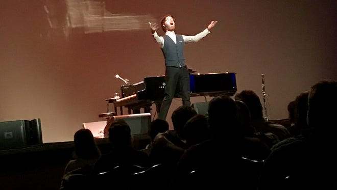 Ben Folds has some fun with a sold-out Meyer Theatre crowd on Tuesday night.
