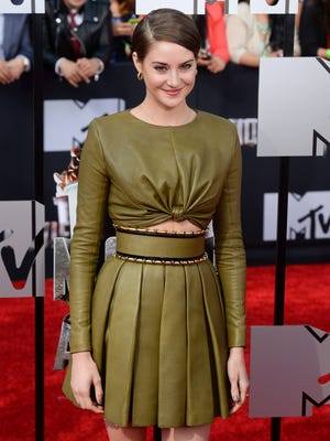 Shailene Woodley arrives for the 2014 MTV Movie Awards at the Nokia Theatre in Los Angeles on April 13, 2014. Woodley stars in the upcoming film 'The Fault in Our Stars.'