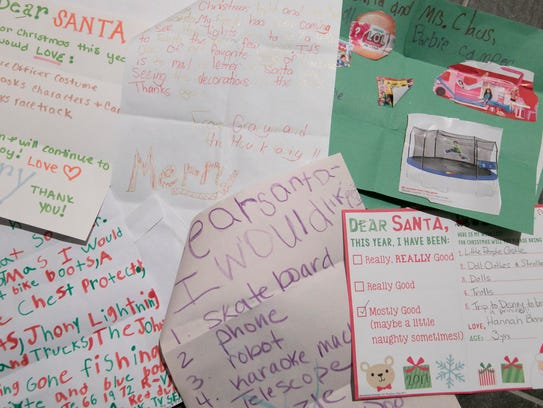 A selection of letters to Santa, each read by Kris